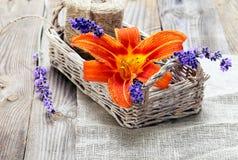 束淡紫色花和百合在篮子在一个老木选项 库存照片