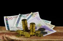 束瑞典现金 免版税库存图片