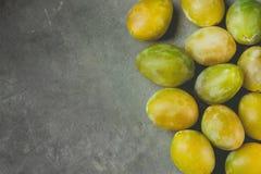 束疏散成熟水多的黄色和绿色李子在黑暗的石背景的边界安排了 秋天秋天收获,感恩 免版税库存图片