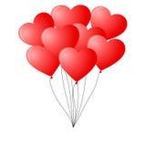 束红色心形的气球 免版税库存照片
