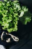 束绿色莴苣在一张白色木背景水平的顶视图离开 免版税图库摄影