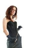 束腰和链子的妇女 库存图片