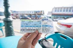 从束草的旅游展示票到东汉城汽车站 免版税图库摄影