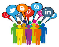 束起通信有概念的交谈媒体人社交 库存图片