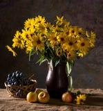 束黄色花(黄金菊)在棕色花瓶和果子 图库摄影