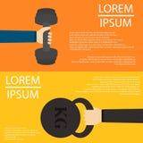 杠铃和重量在手平的设计在backfround 免版税库存照片