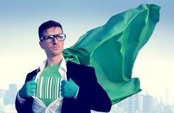 条形码强的超级英雄商人成功援权概念 免版税库存照片