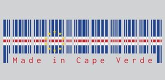 条形码设置了佛得角旗子的颜色,蓝色白色和红色与十在灰色背景的星圈子  向量例证