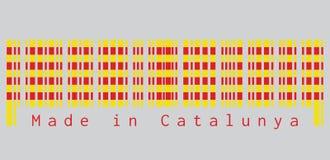 条形码设置了卡塔龙尼亚旗子的颜色,在金黄背景的红色条纹在灰色背景,文本:做在Catalunya 向量例证