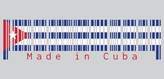 条形码设置了古巴旗子,五水平的条纹的颜色蓝色和白色与红色三角和星在灰色背景 皇族释放例证
