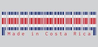 条形码设置了哥斯达黎加旗子、蓝色红色和白色颜色的颜色在灰色背景,文本:制造在哥斯达黎加 皇族释放例证