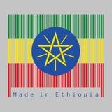 条形码设置了埃塞俄比亚旗子的颜色,三色绿色、黄色和红色与国徽 皇族释放例证