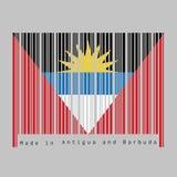 条形码设置了安提瓜和巴布达旗子的颜色,黑蓝色和白色,与与黄色半太阳的两个红色三角 向量例证