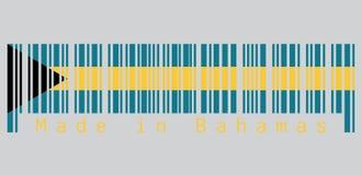条形码设置了巴哈马与对卷扬机侧被排列的黑V形臂章的旗子、蓝绿色和金子颜色的颜色 库存例证
