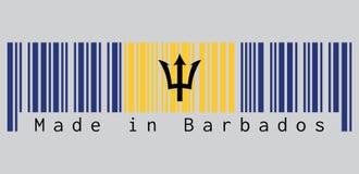 条形码设置了巴巴多斯旗子、垂直的佛青色和金子颜色的颜色与黑三叉戟领袖在灰色背景 库存例证