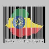 条形码设置了形状对埃塞俄比亚地图概述和埃塞俄比亚旗子的颜色在黑条形码的有灰色背景 库存例证
