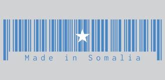条形码设置了索马里旗子的颜色,在一个浅兰的领域围绕的一个唯一白色五针对性的星 向量例证