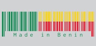 条形码设置了贝宁旗子, A水平双色的颜色黄色和红色与在灰色背景的一条绿色垂直的带 向量例证