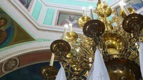 条款背景装饰内部小的种类白色 教会委员会壁画,大教堂内部  股票视频