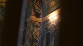 条款背景装饰内部小的种类白色 教会委员会壁画,大教堂内部  股票录像