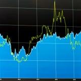 2条线经济图,被摆正的格式 免版税库存图片