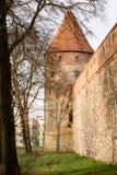 条顿人城堡和红砖在秋天季节的公园耸立 与一个倾斜的红砖屋顶的一座高塔在小山 图库摄影