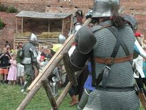 条顿人城堡的马背射击的骑士 库存图片