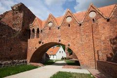 条顿人骑士城堡门在托伦 库存图片