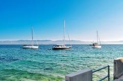 3条风帆游艇在地中海 库存照片