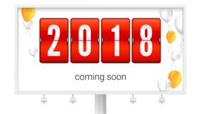 来很快2018个新年,卡片的概念与飞行的可膨胀的气球 在广告牌的祝贺的海报 免版税库存照片