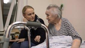 来看的孙女资深祖母在医院 影视素材