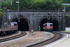 来自Gotthard隧道的瑞士培训 库存图片