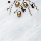 杨柳和桤木分支,在卡拉拉的金黄鸡蛋使有大理石花纹逆 免版税库存图片