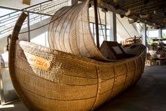 杨柳在Camacha村庄的被编织的小船在山的在丰沙尔上是编织的杨柳的中心 库存图片