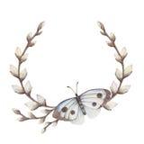 杨柳花圈与蝴蝶的 皇族释放例证