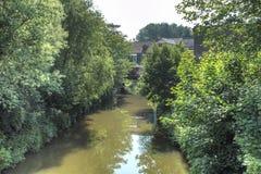 杨柳谷和河Frome在Frome镇 库存图片