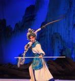 """杨Family†的腾跃的马杨枪北京Opera""""妇女将军 库存图片"""