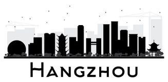 杭州市地平线黑白剪影 库存照片