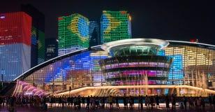 杭州照明和喷泉夜LED 库存图片