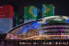 杭州照明和喷泉夜LED 免版税库存图片