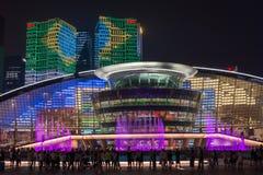 杭州照明和喷泉夜LED 图库摄影