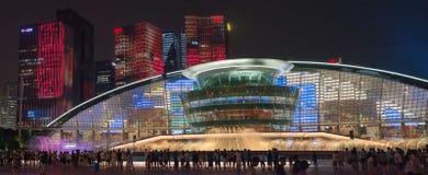 杭州照明和喷泉夜LED 库存照片