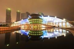 杭州盛大剧院反射在水中在晚上 图库摄影