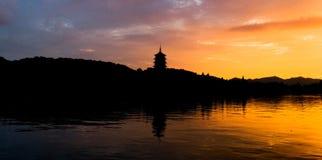 杭州西方湖的场面 免版税库存照片