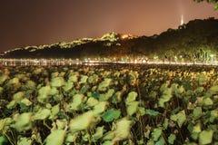 杭州西湖在晚上 免版税库存图片