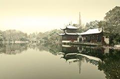 杭州西湖雪 免版税库存图片