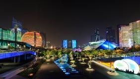 杭州,浙江省城市阳台夜视图 库存照片
