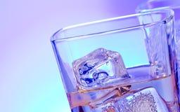 杯与冰的酒精饮料鸡尾酒在迪斯科蓝色点燃 免版税库存照片