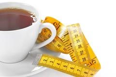 杯与卷尺的热的茶 库存图片