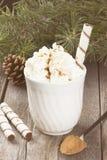 杯与奶油的热的可可粉在黑暗的背景 定调子 免版税库存照片